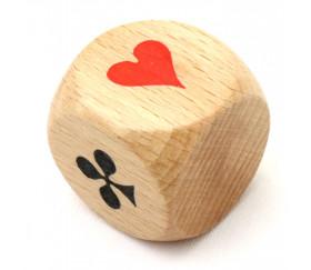 Dé belote bois 3 cm atout symbole des cartes