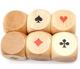 Grand Dé belote bois 4.1 cm atout symbole des cartes