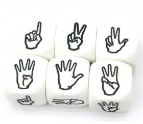 Dé à jouer main et doigts levés 123456