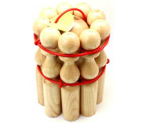 Jeu 9 Quilles en bois verni de 24 cm + 2 boules en bois