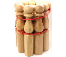 Jeu 9 Quilles bois verni de 30 cm + 2 boules en bois
