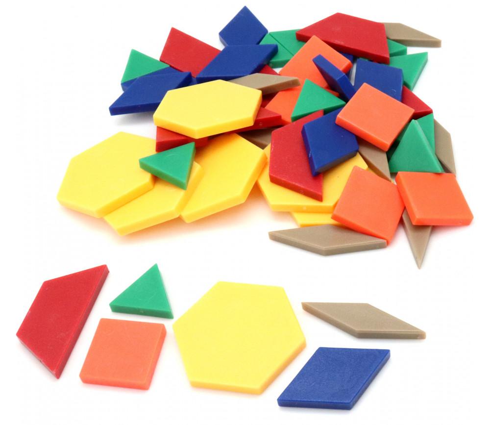 50 Formes géométriques blocs logiques plastique coloré