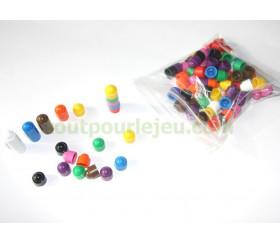 100 petits pions empilables 12x13 mm pour jeux couleurs