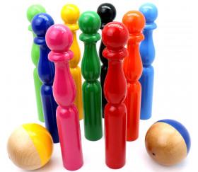 Jeu de 9 quilles bois multicolores 19 cm + 2 boules
