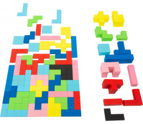 Puzzle multicolore formes géométrique en bois Tétris