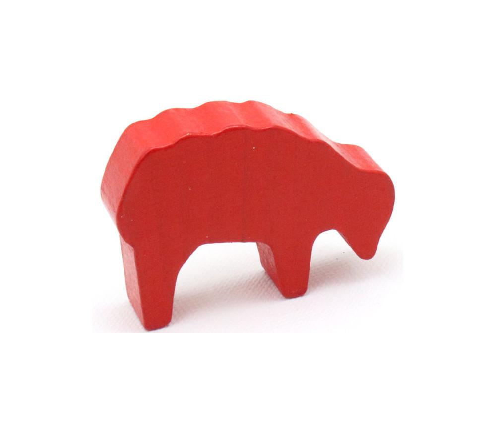 Pion mouton rouge 40x28x10 mm en bois pour jeu de société
