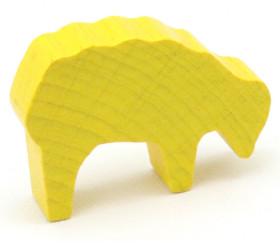Pion mouton jaune 40x28x10 mm en bois pour jeu de société