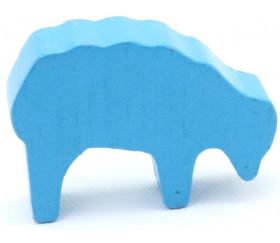 Pion mouton bleu clair 40x28x10 mm en bois pour jeu de société