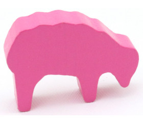 Pion mouton rose 40x28x10 mm en bois pour jeu de société