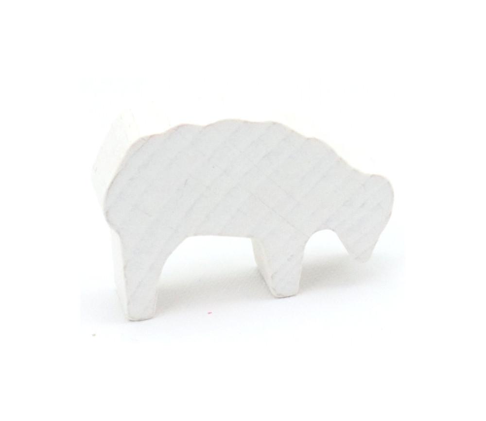 Pion mouton blanc 40x28x10 mm en bois pour jeu de société