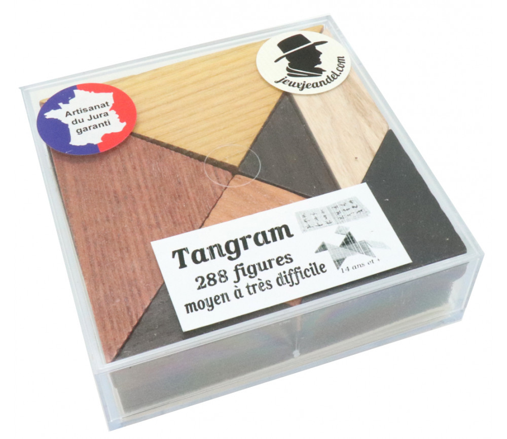Tangram en bois 9.5 cm dans boite plastique