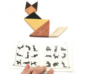 Tangram en bois avec cadre 12 cm. Fabrication Jura