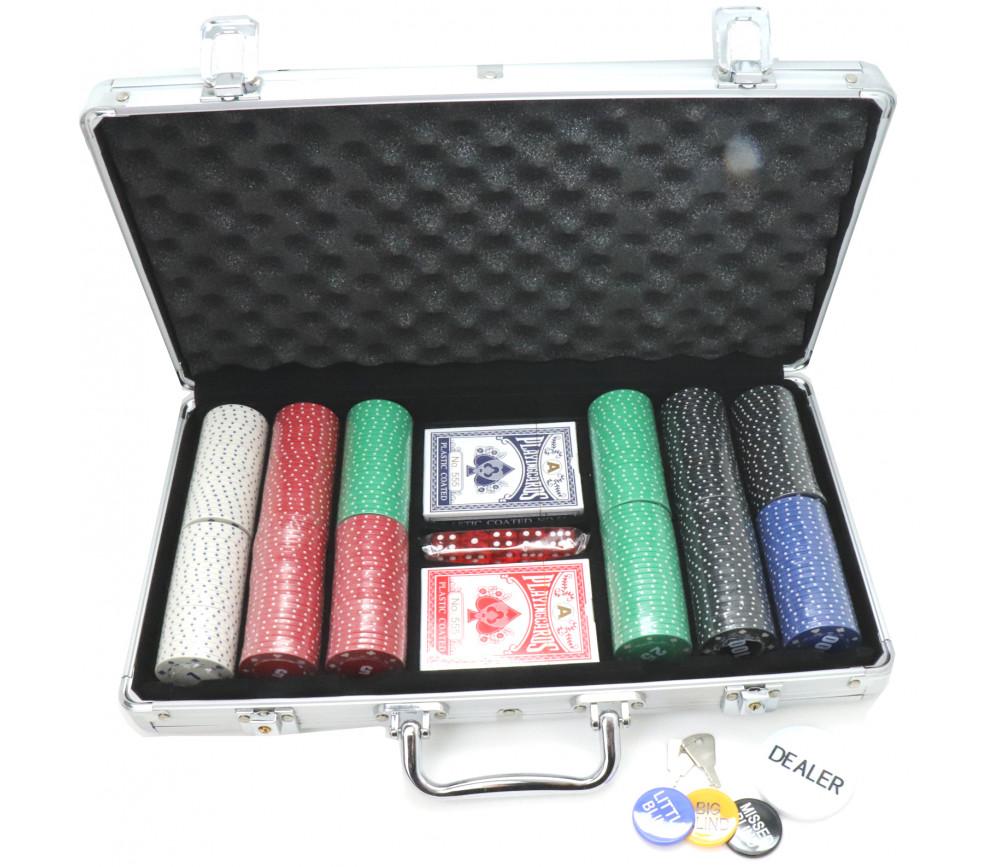Mallette de Poker avec 300 jetons , 2 jeux de Cartes, 5 dés