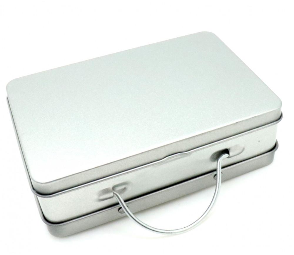 Valisette boite métal avec anse 120 x 80 x 35 mm