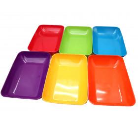 6  grandes barquettes plateaux colorés Bioplastique 23 x 14.9 x 4 cm