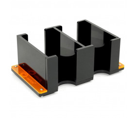 Sabot double grand modèle en plexiglass noir 2L Solid pour jeu de cartes