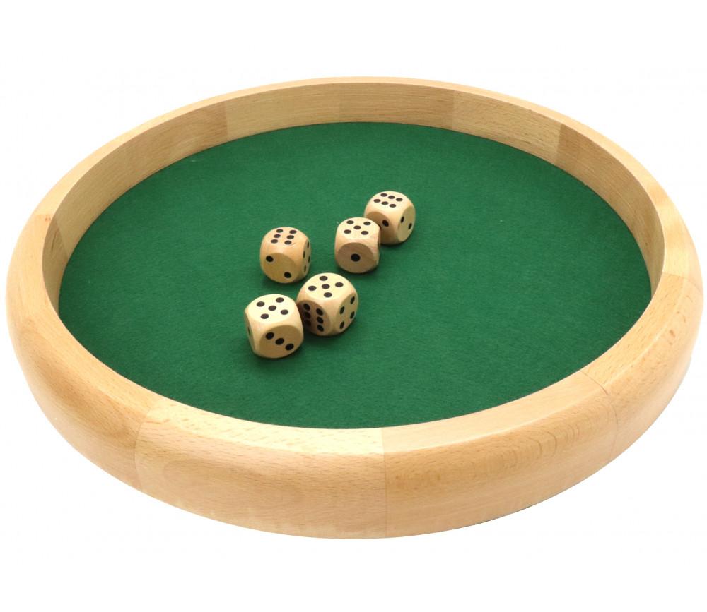 Piste dés en bois ronde 40 cm avec 5 dés bois