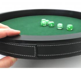 Piste de dés luxe verte et noire 40 cm tour cuir avec 6 dés