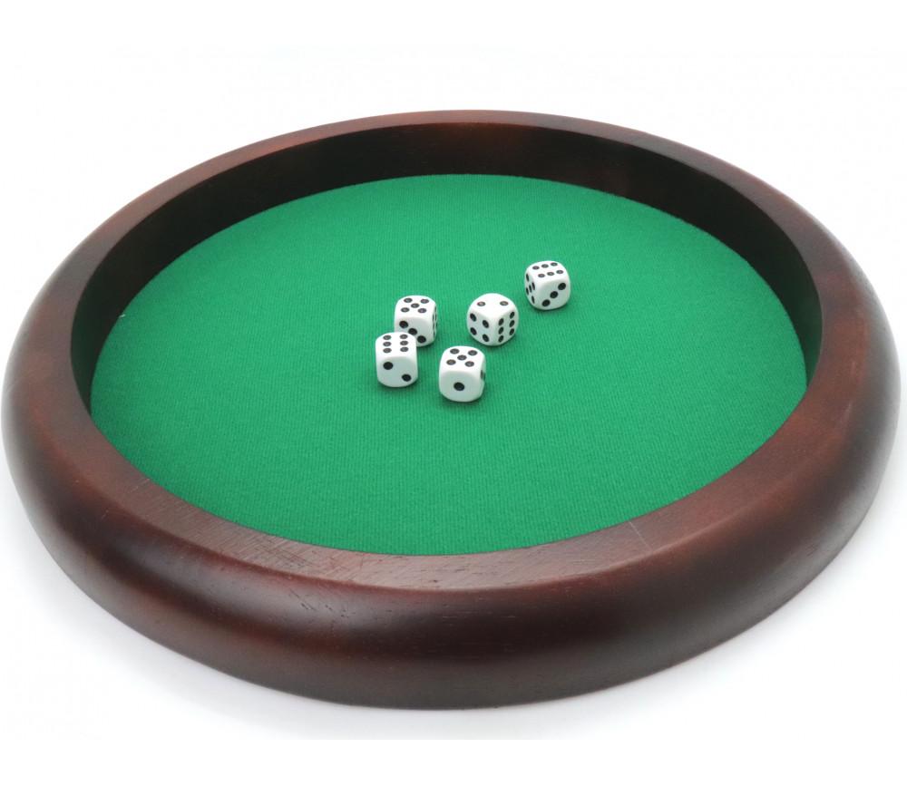 Piste dés bois marron 35 cm pour jeu avec 5 dés