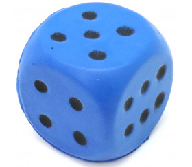 Grand dé en mousse 4 cm pour jeu bleu
