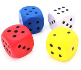 Grand dé en mousse 4 cm pour jeu colorés