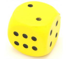 Grand dé en mousse 4 cm pour jeu jaune
