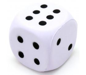 Grand dé en mousse 4 cm pour jeu blanc