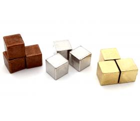 Cube métal doré, argenté et cuivré