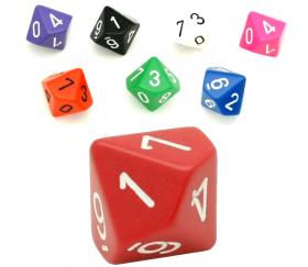 Dé à 10 faces 0 à 9 opaques jeux de rôle d10