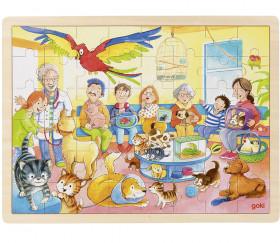 Puzzle en bois 48 pièces Animaux chez le vétérinaire