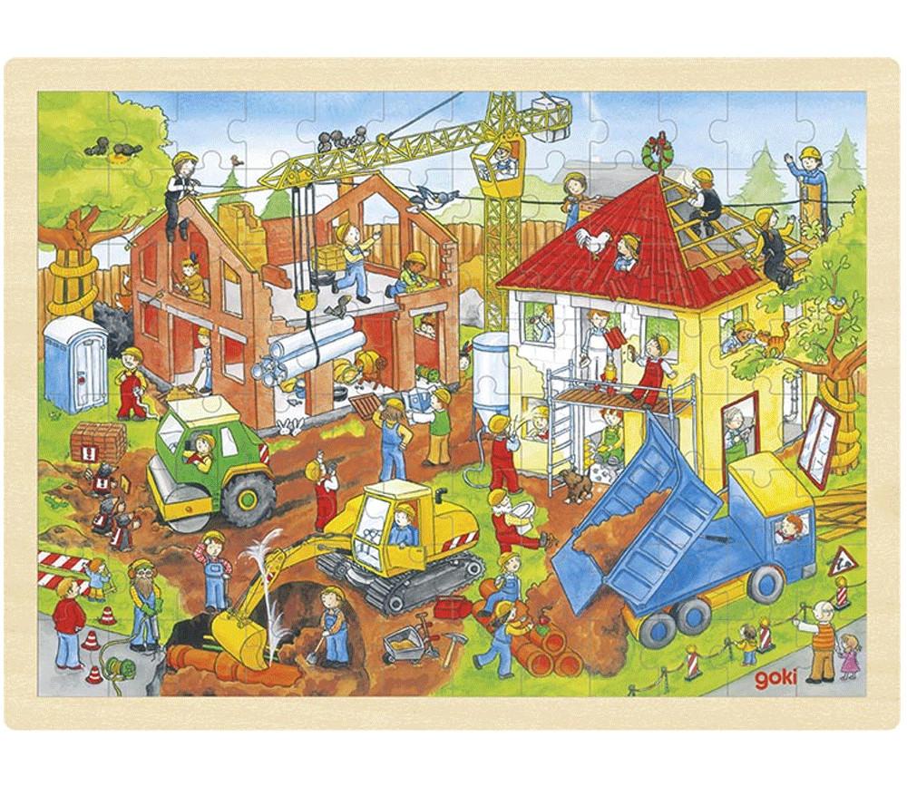 Puzzle en bois 96 pièces Chantier de construction