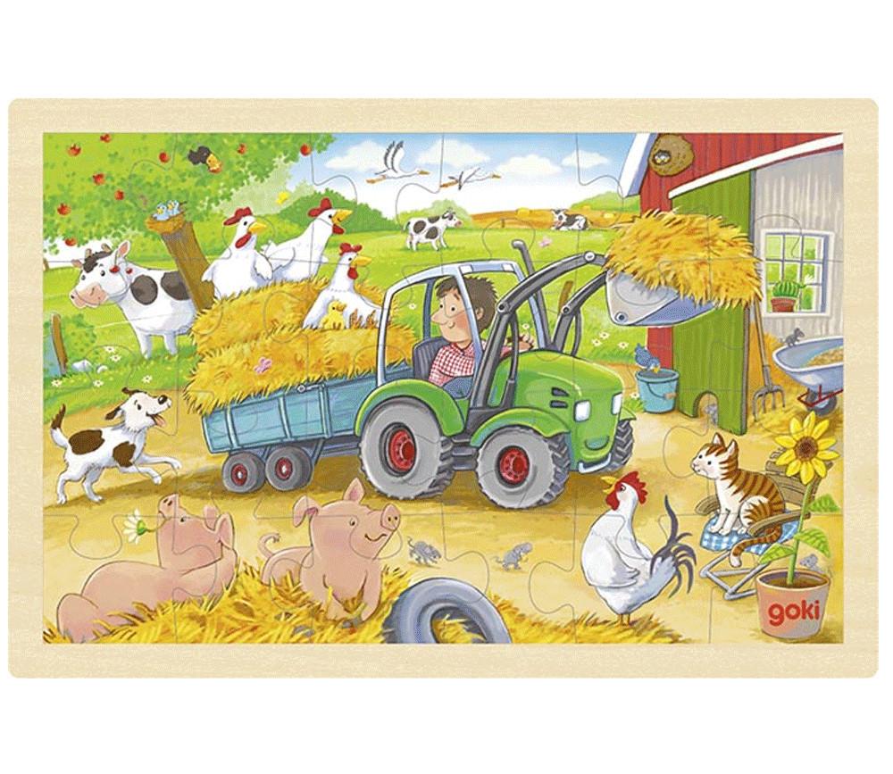 Puzzle en bois 24 pièces Ferme le petit tracteur