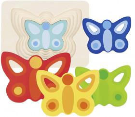 Puzzle à étages en bois Papillons colorés