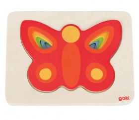 Puzzle à étages en bois Papillons colorés 5 pièces