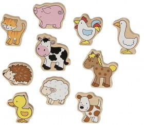 10 animaux de la ferme en bois colorés 4 à 6 cm