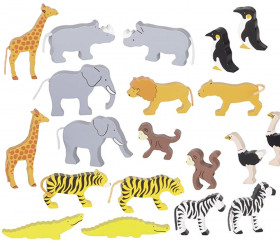 20 animaux Sauvages en bois avec couleurs