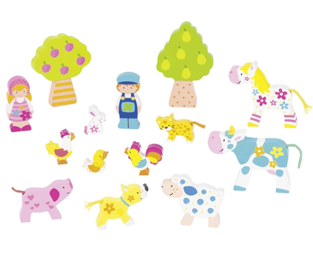 14 figurines bois : personnages et animaux de la ferme colorés