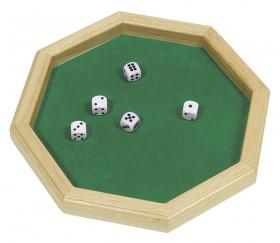Piste dés à jouer en bois 25.7 cm octogonale