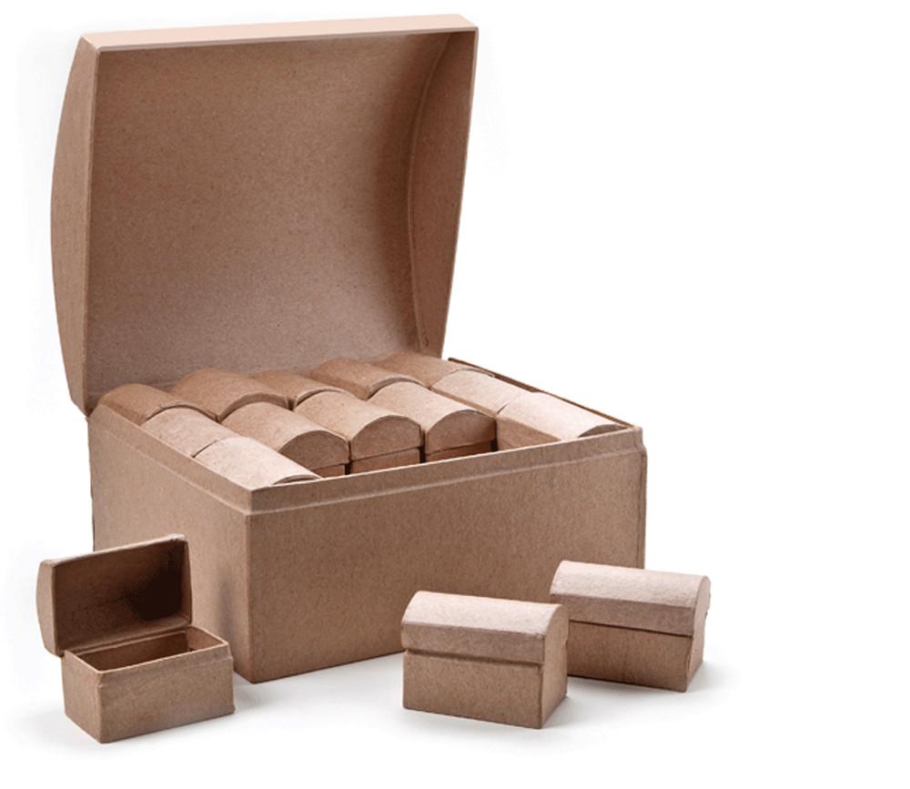 Grand Coffre + 30 minis coffres trésor carton