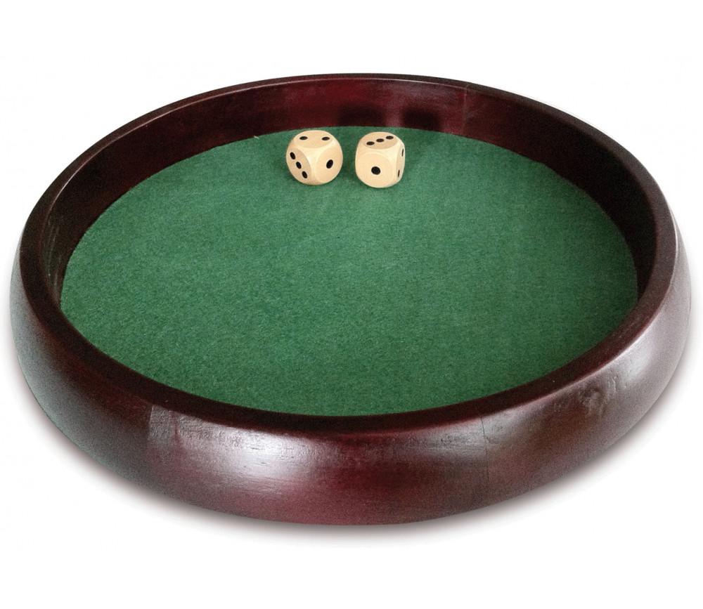 Piste dés bois marron 34 cm pour jeu avec 2 dés