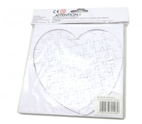 10 Puzzles cœur carton blanc 40 pièces à personnaliser 16 x 16 cm