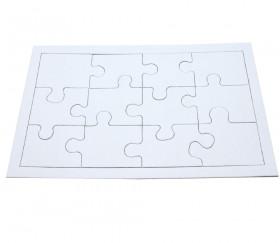 10 Puzzles carton blanc 12 pièces à personnaliser 22 x 14 cm