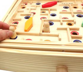 Jeu Labyrinthe à billes avec obstacles en bois 35 x 31 cm