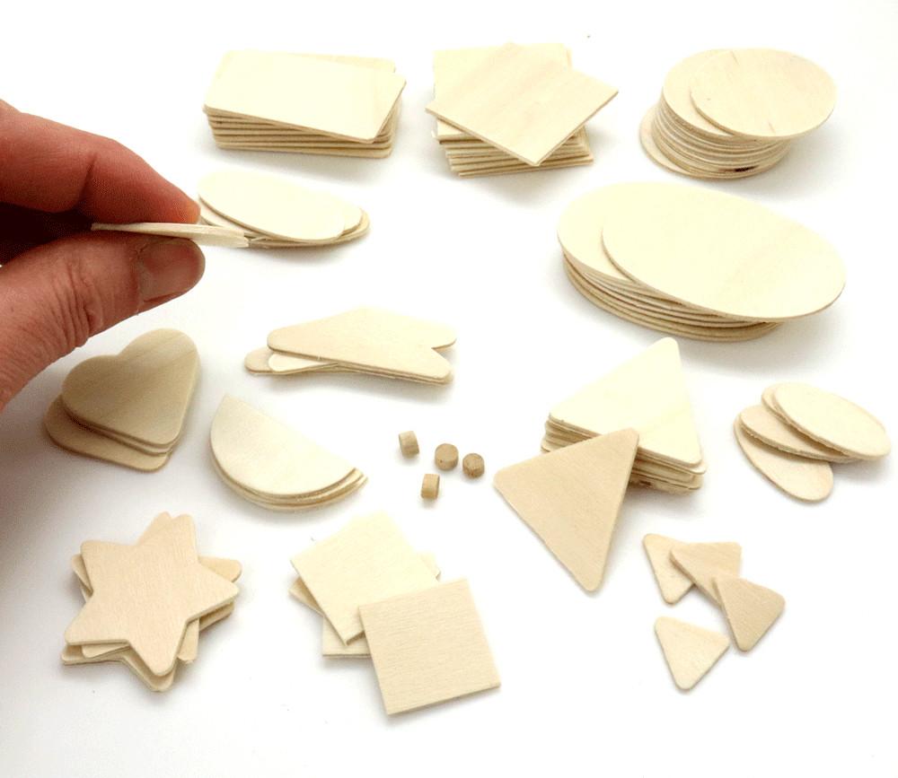78 formes géométriques en bois naturel