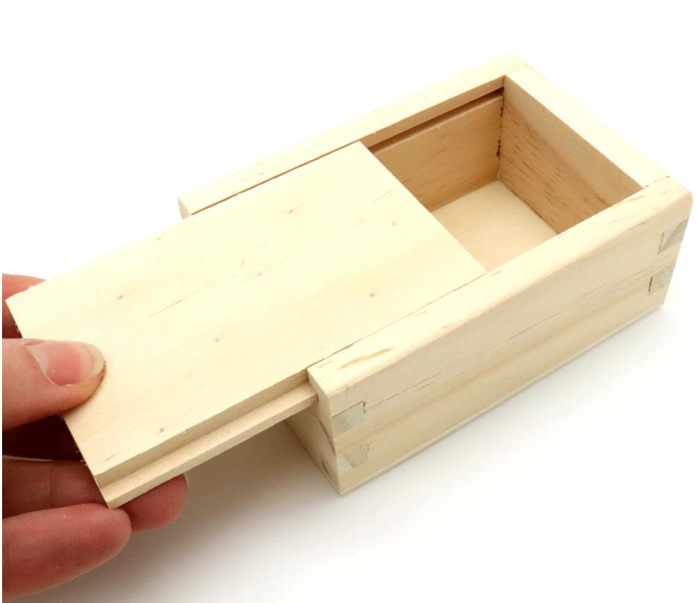 Coffret bois avec glissière 10 x 7 x 4 cm pour accessoires jeux