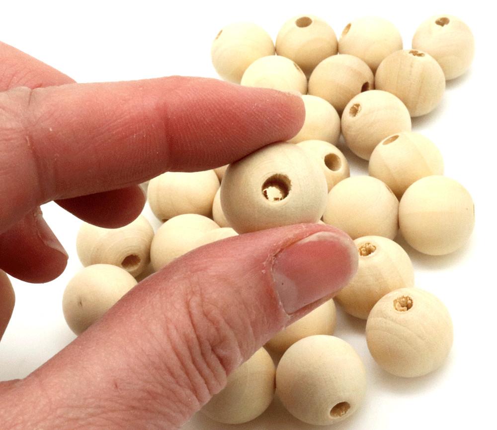 30 perles 1.8 cm trouée en bois 18 mm trou de 4 mm