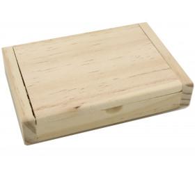 Coffret porte cartes en bois 10.5 x 7 x 2 cm