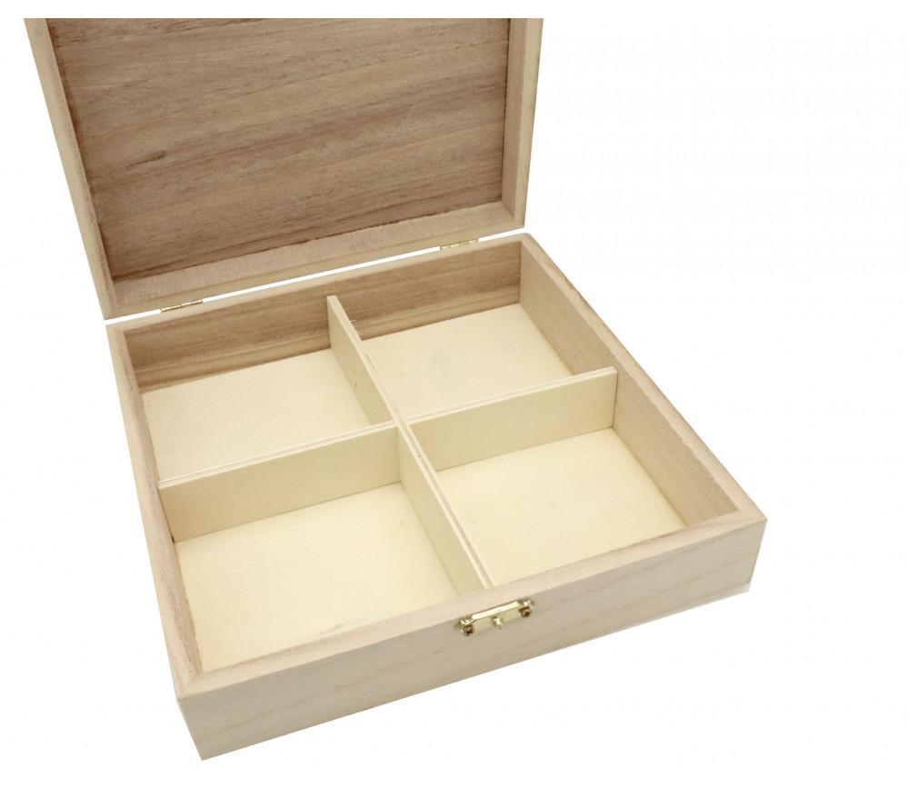 Boite en bois 20 x 20 x 5.7 cm 4 compartiments pour accessoires de jeux