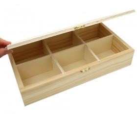 Boite bois 6 compartiments 30 x 16 x 6 cm pour accessoires de jeux