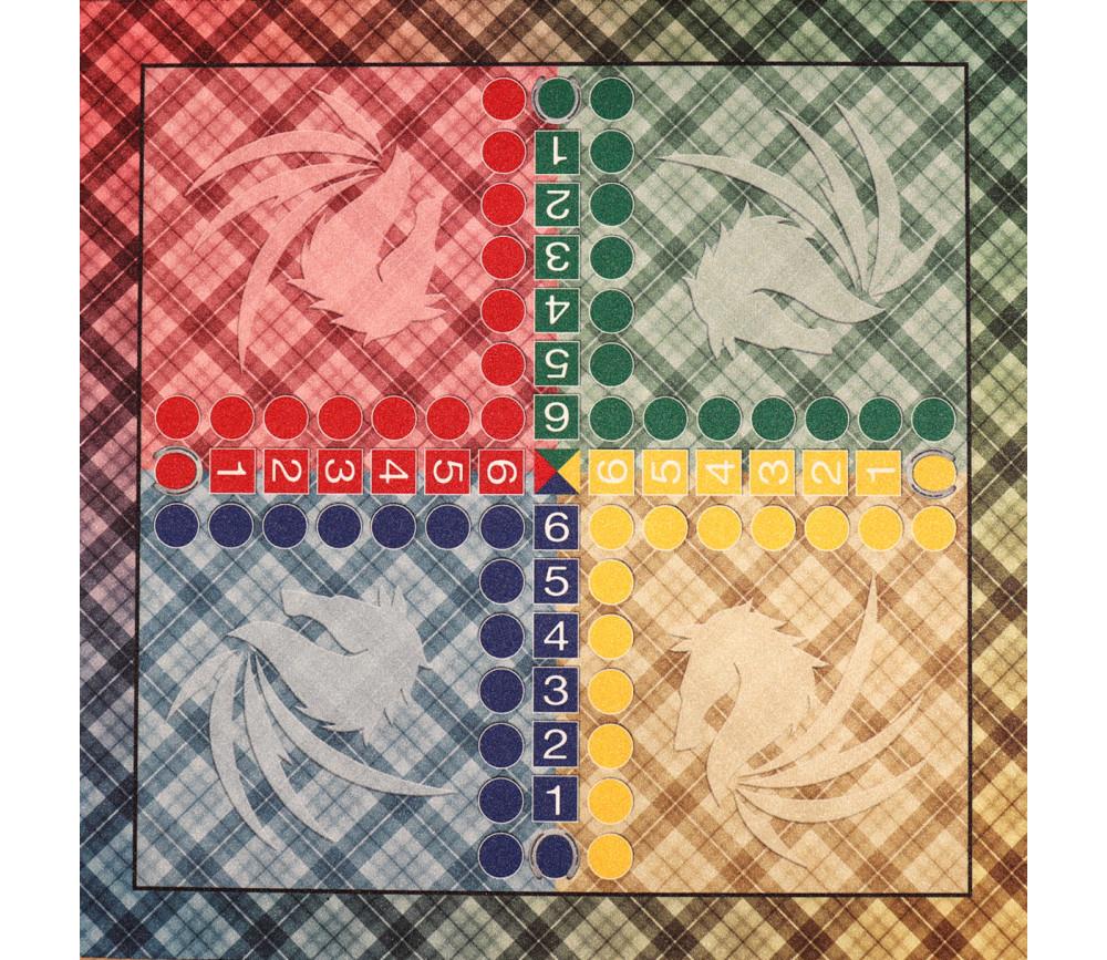 Tapis souple jeu petits chevaux écossais 50 x 50 cm sans pions